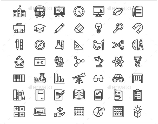 Set of School and Educational Icons