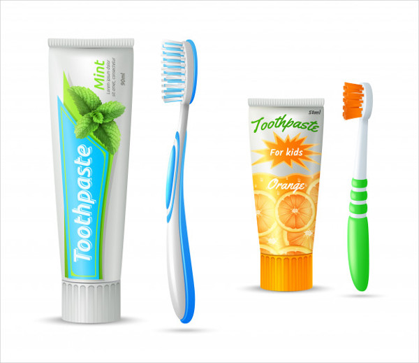 Set of Toothpaste Tubes and Toothbrushes Free Vector