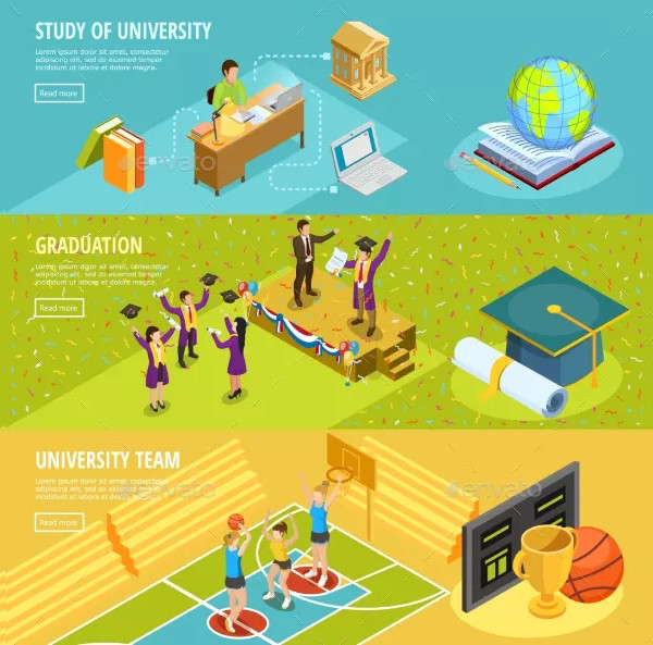 University Education Horizontal Isometric Banners