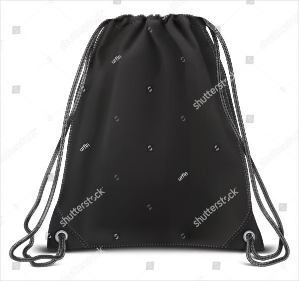 Vector Black Mockup of Backpack Bag