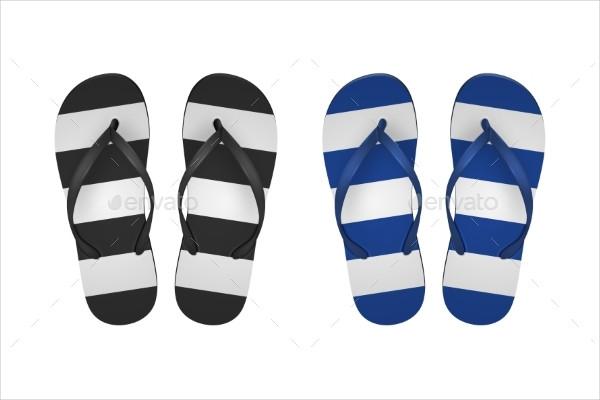 Vector Realistic Striped Flip Flop Set Closeup