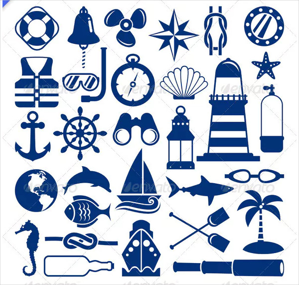 Vector Set of 30 Different Nautical Icons