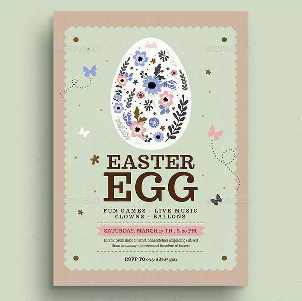 Vintage Floral Easter Egg Flyer Template