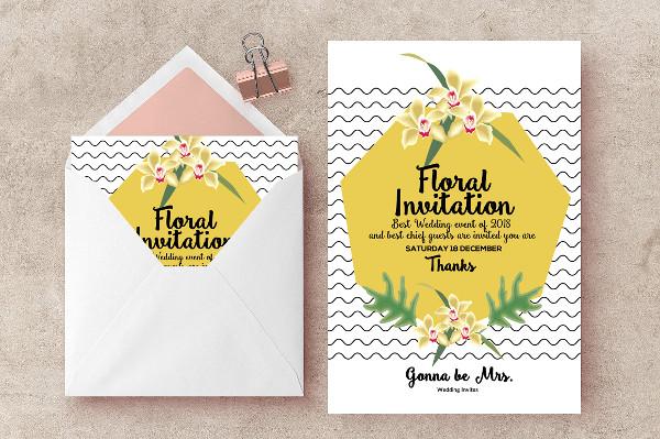 Wedding Floral Invites Flyer Design