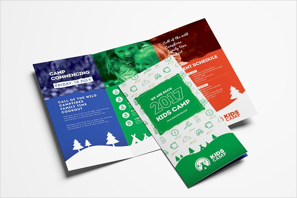 A4 Kids Camp Trifold Brochure Templates