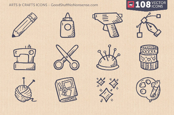 Arts And Crafts Hand Drawn Icons