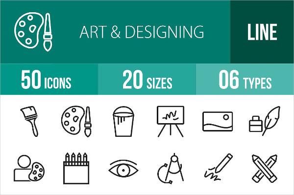 Arts & Designing Line Icons