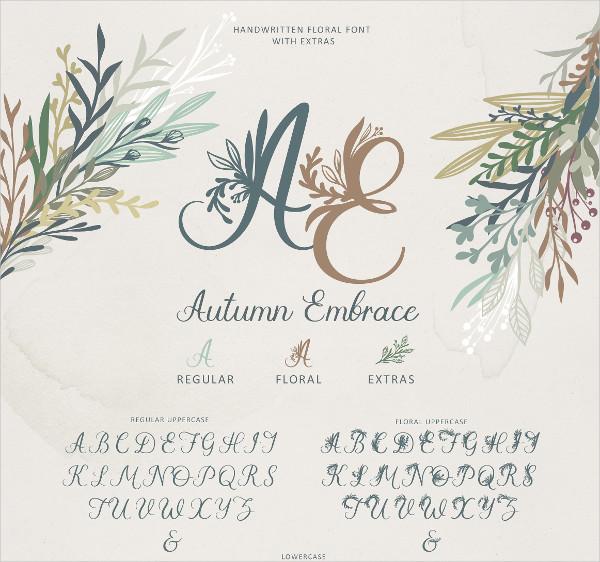 Autumn Embrace Floral Font