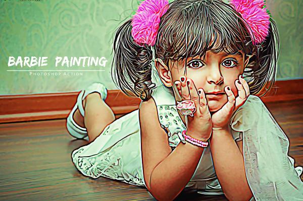 Barbie Painting Photoshop Action