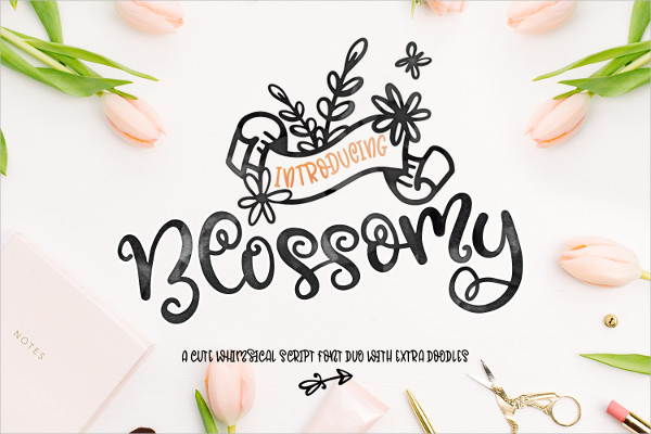 Blossomy Font Duo & Floral Doodles