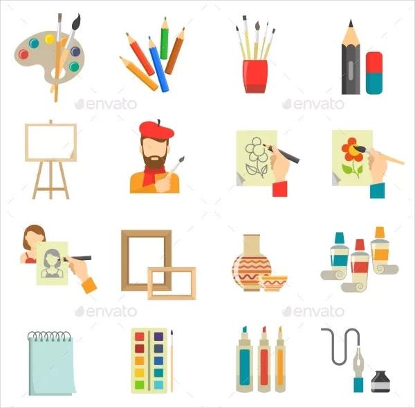 Colorful Art Icon Set