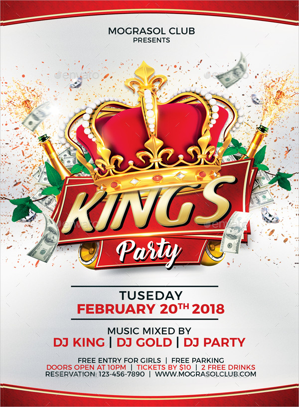 Editable Kings Party Flyer