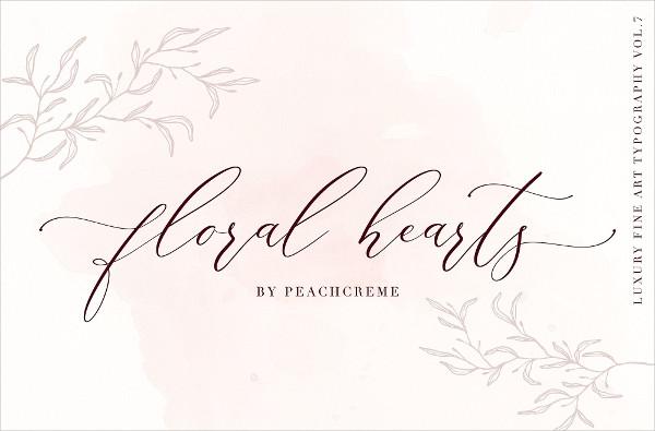Floral Hearts Luxury Script Font