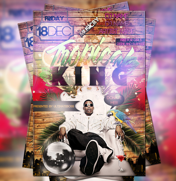 Free PSD Tropical King Flyer Design