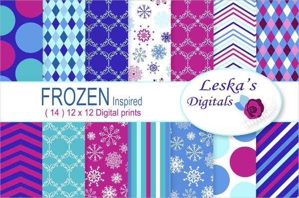 Frozen Digital Paper Patterns Design