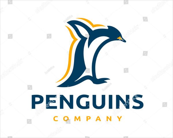 Jumping Penguin Logo Vector