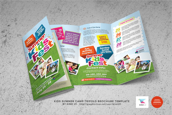 Kids Summer Camp Trifold Brochure Design