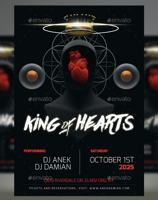 King Of Hearts Party Flyer Design
