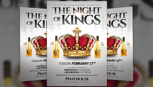 19+ Kings Party Flyers