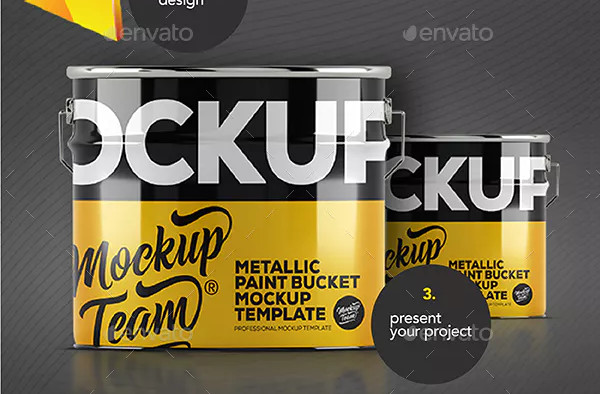 Metallic Paint Bucket Mock-Up Template