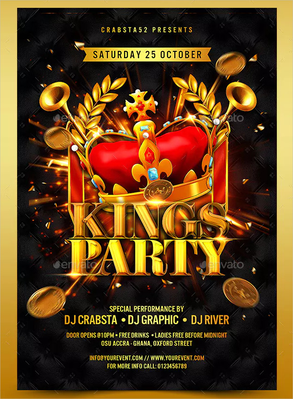 Modern Kings Party Flyer Template
