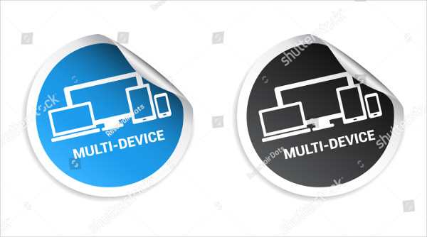 Multi-Device Stickers Mockup Vector