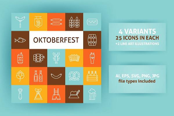 Oktoberfest Line Art Icon Pack