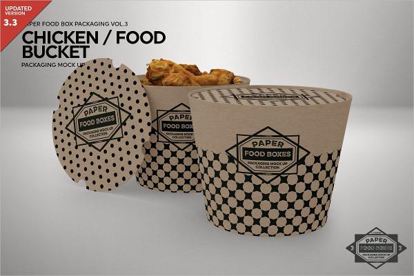 Paper Food Bucket Packaging Mockup