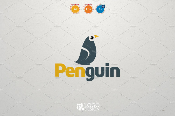 Penguin Cartoon Logo Template