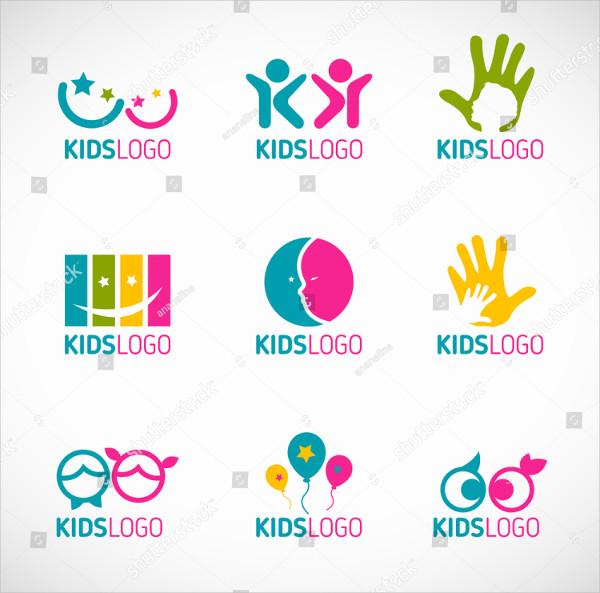 Set of Kids Logos Designs