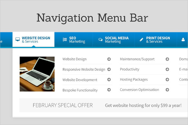 Stylish Navigation Menu Bar Design