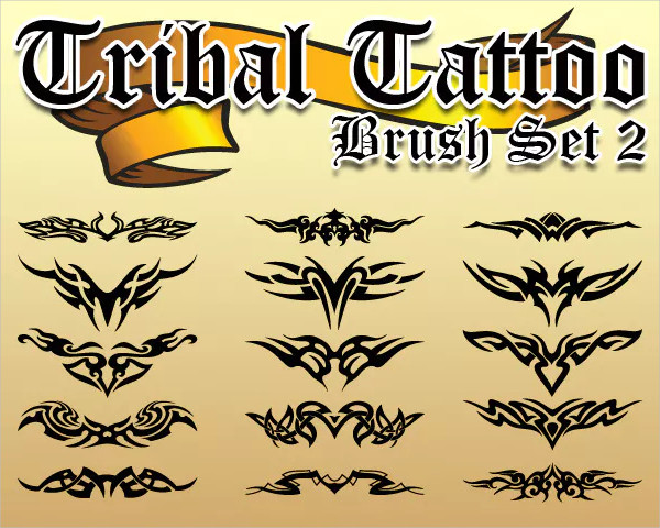 Tribal Tattoo Photoshop Brush Set