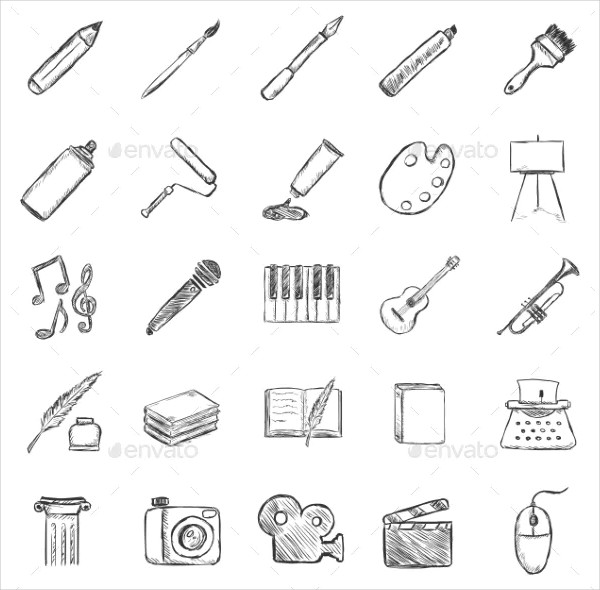 Vector Set of Sketch Art Icons