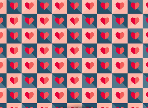 Vector Tiled Pattern With Paper Hearts Free