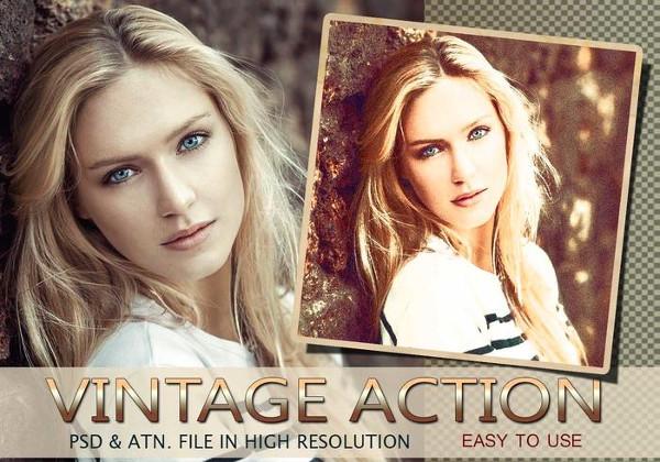 Vintage Photo Effect PSD & Action