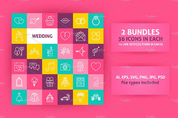 Wedding Line Art Icon Bundle