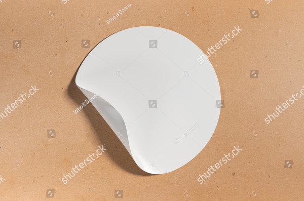 White Round Sticker Mock-Up Illustration