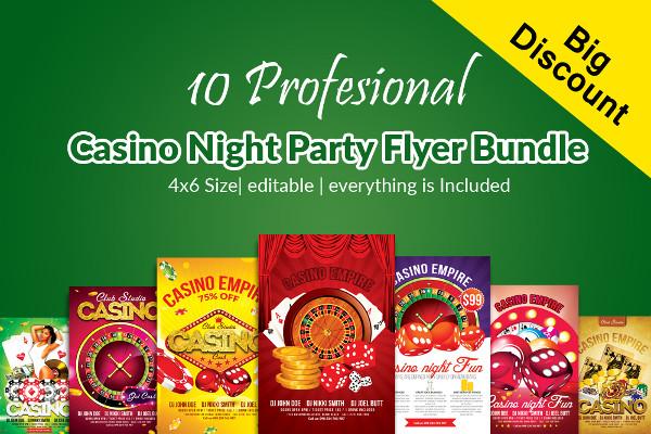 10 Casino Night Party Flyers Bundle