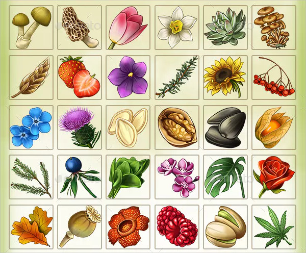 111 Hand-Drawn Plants Icons