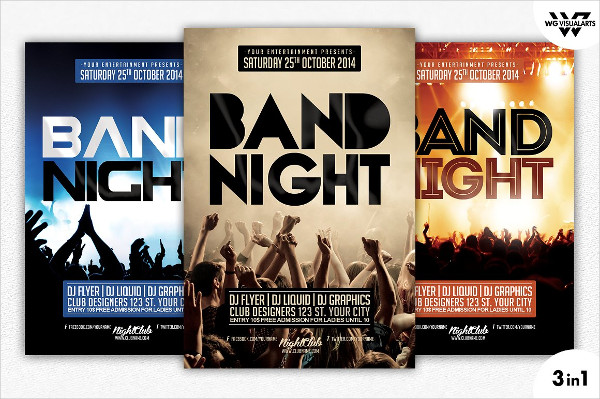 3 Band Night Flyer Templates