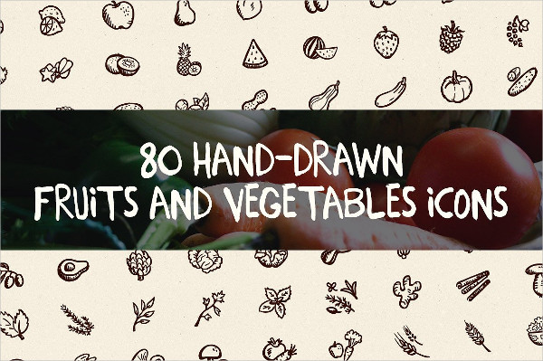 80 Hand-Drawn Fruits and Vegetable Icons