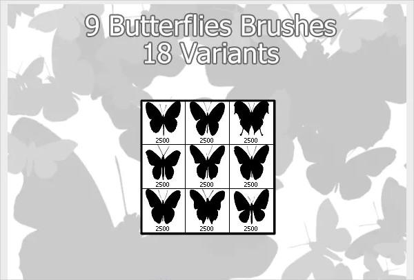 9 Butterflies Brushes in 18 Variants