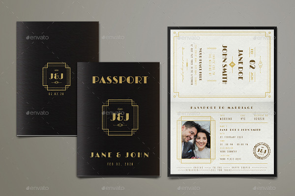 Art Deco Passport Wedding Invitation Template