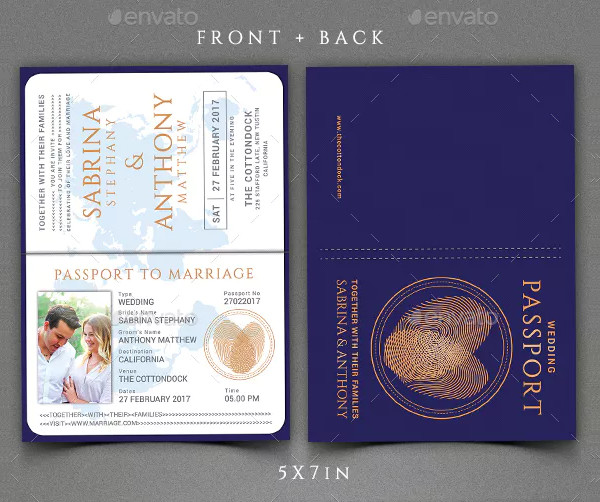 Beautiful Passport Wedding Invitation