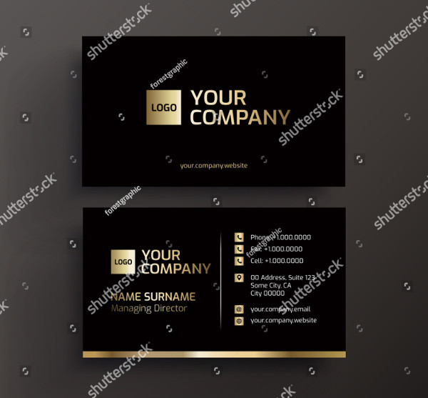 Business Card Black and Gold Vector Template