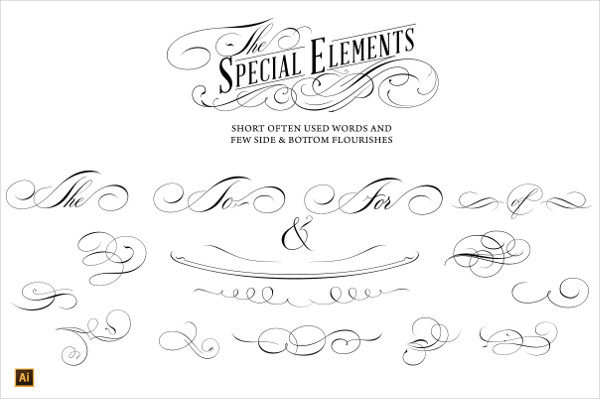 Calligraphic Lettering Designs Set