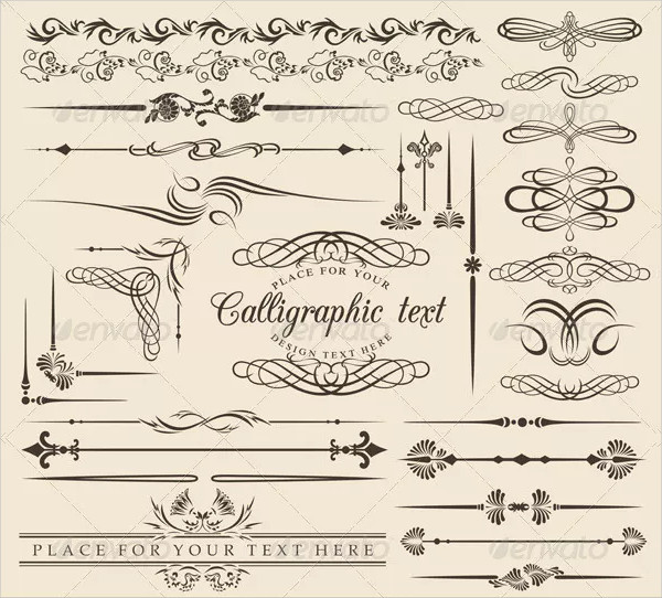 Calligraphic and Decor Design Elements