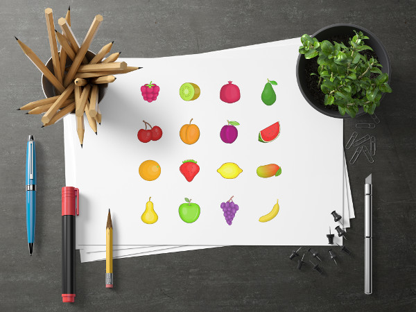 Cartoon Fruits Icons Set