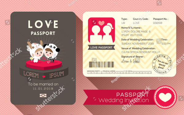 Cartoon Passport Wedding Invitation Card