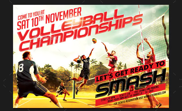 Clean Volleyball Championships Sports Flyer